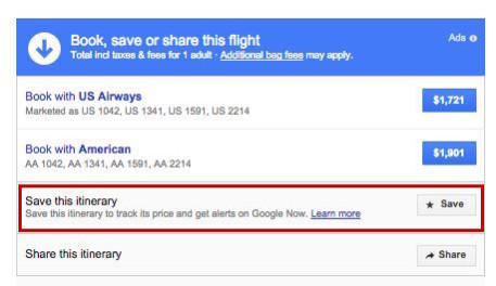 Google Flights Save Itinerary