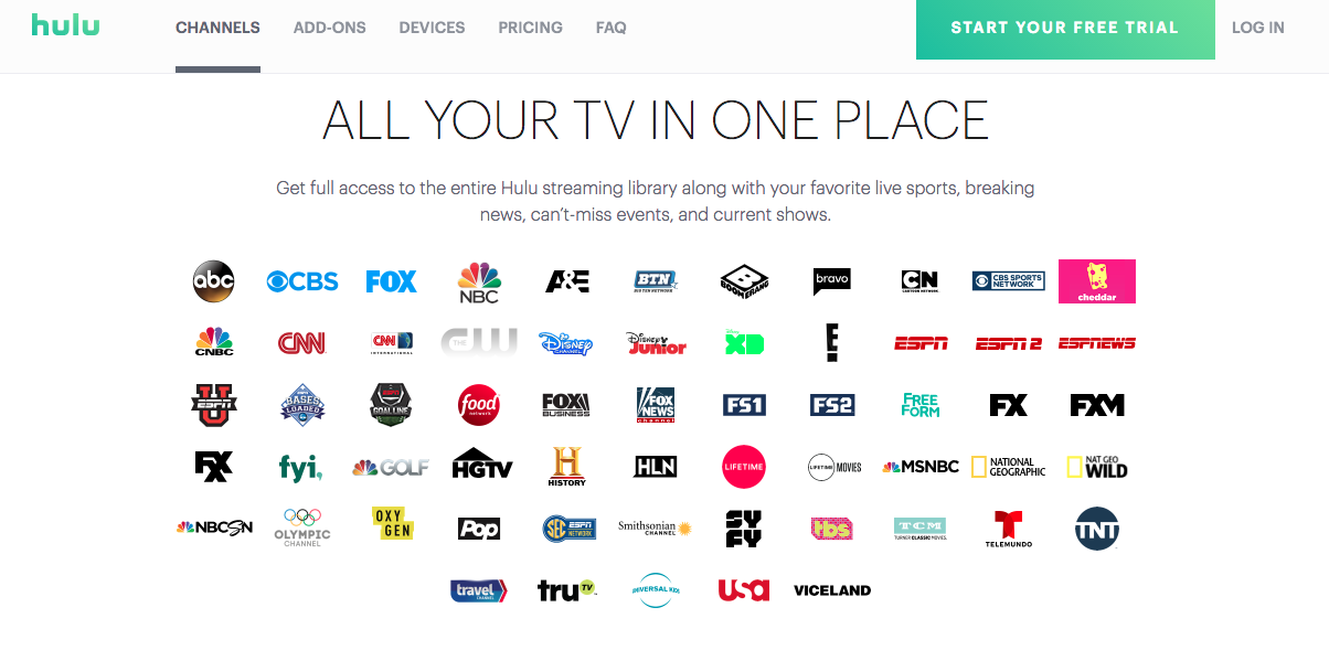 Hulu with Live TV Channel Lineup