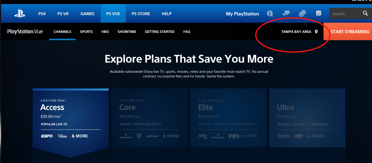 PlayStation Vue Local Channels