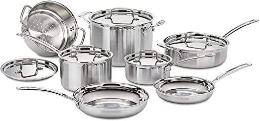 Best Overall Stainless Steel Cookware Set (Under $500): Cuisinart MCP-12N Multiclad Pro Stainless Steel 12-Piece Cookware Set