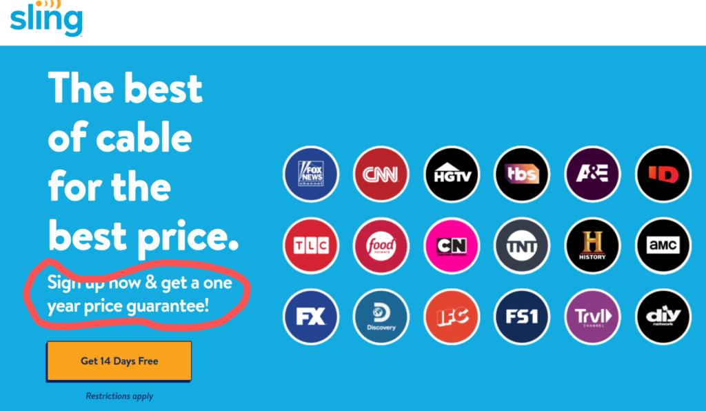 Sling TV Price Guarantee